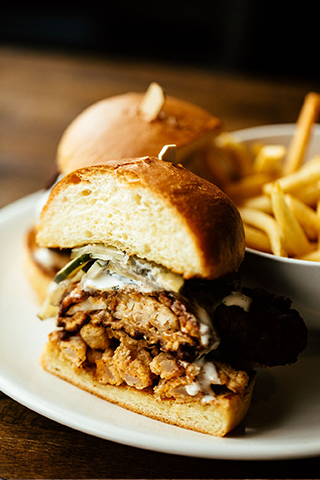 Fried Chicken Sandwich with Fries on a White Plate Spokane Brunch