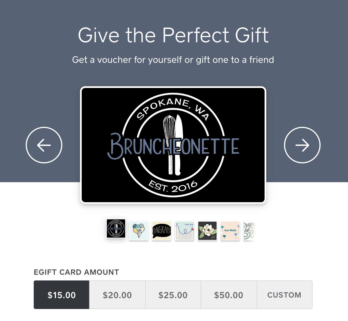 Bruncheonette Spokane Giftcard Selections